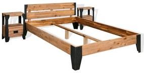 274979 vidaXL Cadru pat cu 2 noptiere, lemn masiv acacia și oțel, 180x200 cm