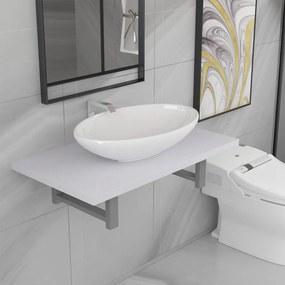 279339 vidaXL Set mobilier de baie, 2 piese, alb, ceramică