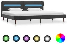 286888 vidaXL Cadru pat cu LED-uri, gri închis, 180x200 cm, material textil