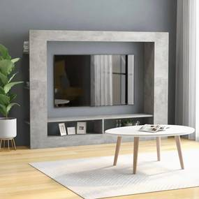 800742 vidaXL Comodă TV, gri beton, 152 x 22 x 113 cm, PAL