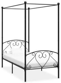 284433 vidaXL Cadru de pat cu baldachin, negru, 90 x 200 cm, metal