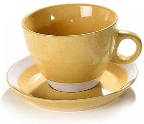 Ceasca cu farfurioara ceramica galbena 10 cm x 7 h, 260 ml