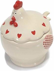 Bol cu capac model Gaina ceramica crem rosu cm 13 cm x 12 cm x 15 H