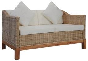 283076 vidaXL Canapea cu 2 locuri cu perne, culoare naturală, ratan