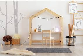 Birou tip căsuță din lemn de pin pentru copii Adeko Bran, 40 x 100 cm