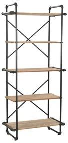 246423 vidaXL Bibliotecă din lemn masiv de brad și oțel, 80 x 42 x 180 cm