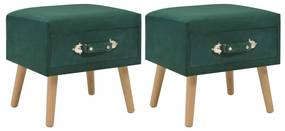 276382 vidaXL Noptiere, 2 buc., verde, 40 x 35 x 40 cm, catifea