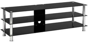 280091 vidaXL Comodă TV, negru, 120x40x40 cm, sticlă securizată