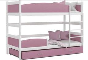 Expedo Pat supraetajat copii SWING 2 + saltea + somieră GRATIS, 180x80, alb/roz