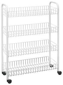 Cărucior mobil cu 4 rafturi pentru baie Metaltex Laundry, 23 x 84 cm