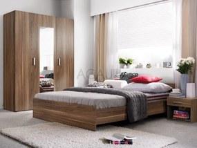 Set mobila dormitor Libera, PAL cu folie de finisaj, nuc virginia