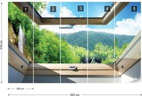 Fototapet GLIX - Waterfall Forest 3D  + adeziv GRATUIT Papírová tapeta  - 254x184 cm
