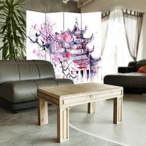 CARO Paravan - Japanese Landscape   cvadripartit   reversibil 145x150 cm
