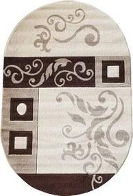 Covor Rixos clasic bej-maro oval 80x150 cm