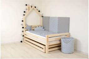 Pat din lemn de molid pentru copii Benlemi Wally, 80 x 200 cm, turcoaz