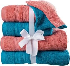 Set de prosoape frote, prosoape de baie și prosoape mici de culoare coral-turcoaz 6 buc