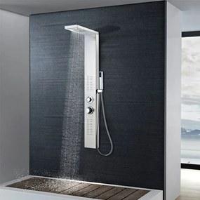 Sistem panel de duș, pătrat, oțel inoxidabil