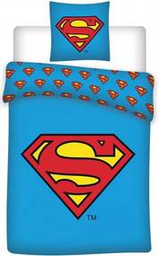 Set lenjerie pat copii Superman 140x200 + 70x90 SunCity albastru