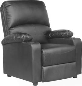 Fotoliu recliner Kino, cu suport pentru bauturi, piele naturala negru