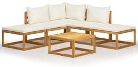 45915 vidaXL Set mobilier grădină cu perne, 6 piese, lemn masiv acacia