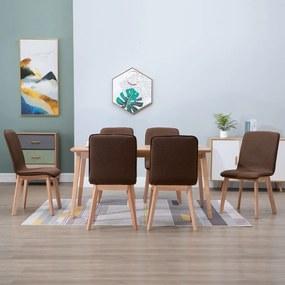 276924 vidaXL Scaune de bucătărie 6 buc, maro, textil & lemn de stejar masiv