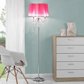 Lampa de podea eleganta - Noble Purple 3 x E 14 - 40W - roz / crom