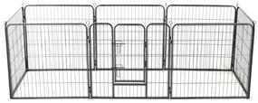 Țarc pentru câini, 8 panouri, oțel, 80x80 cm, negru