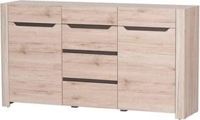 Comodă cu două uși, 4 sertare și elemente din lemn Szynaka Meble Desjo, mic