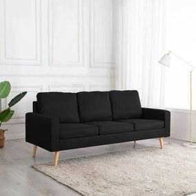 288722 vidaXL Canapea cu 3 locuri, negru, material textil