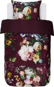 Lenjerie de Pat din Bumbac Satinat, 140x220 cm  - Fleur Burgundy