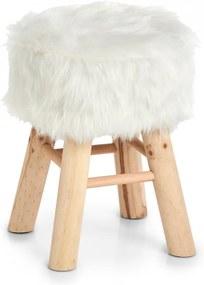 Scaunel rotund alb/maro din poliester si lemn 29 cm Yonce Zeller