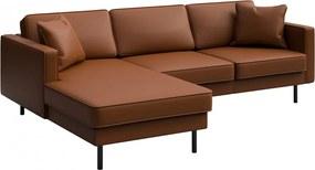 Canapea cu colt maro scortisoara din piele si lemn pentru 4 persoane Kobo Left Mesonica