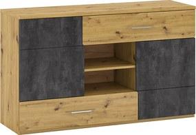 Scrin E, stejar artizanal / beton gri, ERIDAN