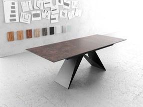 Masa de sufragerie Delife Edge, 180/220x90 cm, sticla maro antic, picior central in forma de V, neagra, extensibila