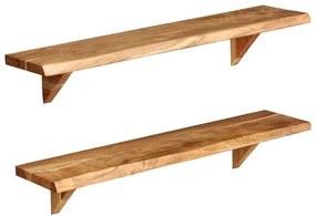 Rafturi de perete, 2 buc., 90x20x16 cm, lemn masiv de acacia