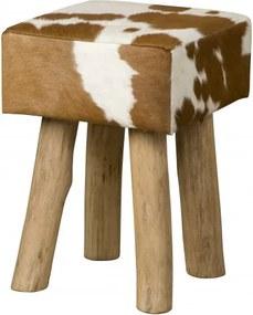 Taburet din piele de vaca Cowhide alb/maro