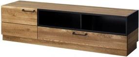Comoda TV din lemn si furnir, cu 1 sertar si 1 usa Large Mosaic 25 Stejar / Negru, l170xA42xH46 cm