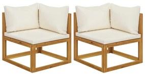 311853 vidaXL Canapele de colț modulare cu perne, 2 buc., alb crem