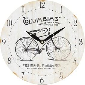 Ceas de perete alb vintage cu model Biciclet Ø 29x4 cm