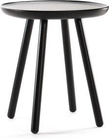 Măsuță auxiliară din lemn masiv EMKO Naïve, ø 45 cm, negru