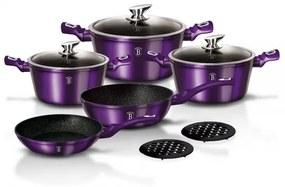 Set oale si tigai marmorate (10 piese) din aluminiu forjat Metallic Line Royal Purple Edition Berlinger Haus BH 1661N
