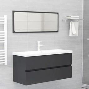 3071704 vidaXL Set mobilier de baie, gri, PAL