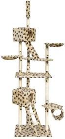 Ansamblu sisal cu 2 căsuțe pisici 230-260 cm, bej cu imprimeu lăbuțe