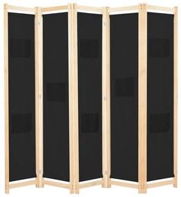 248185 vidaXL Paravan de cameră cu 5 panouri, 200x170x4 cm, material textil
