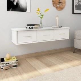 800600 vidaXL Dulap de perete cu sertare, alb extralucios, 90x26x18,5 cm, PAL