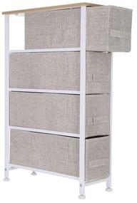 Corp ingust depozitare cu 4 sertare textile 20x48x75.5 cm