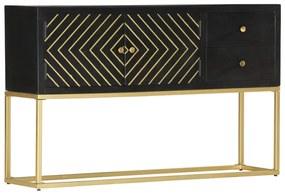 286512 vidaXL Servantă, negru & auriu, 120 x 30 x 75 cm, lemn masiv de mango