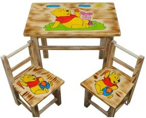 Masă din lemn pentru copii cu model Ursulețul Pu + 2 scaune