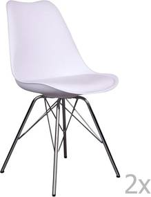 Set 2 scaune House Nordic Oslo Chrome, alb