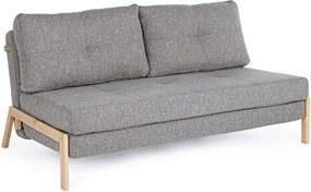 Canapea 2 locuri extensibila cu picioare din lemn natur si tapiterie textil gri Hayden 151 cm x 96 cm x 79 h